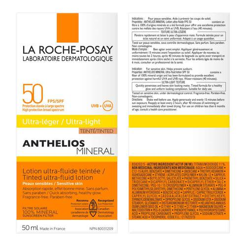 ANTHELIOS MINERAL TINTED ULTRA FLUID SPF 50 FACIAL SUNSCREEN