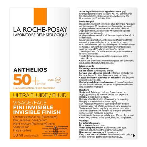 Anthelios Ultra-Fluide FPS 50+ Écran Solaire pour Visage