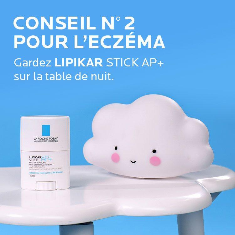 Conseil Eczema. Gardez Lipikar stick AP+ sur la table de nuit